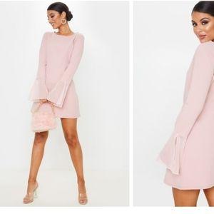 PrettyLitteThing- Dusty rose frill sleeve dress